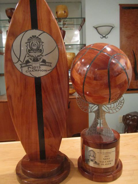 One of Jose's moves took him and his woodworking business to Hawaii. While there, he built furniture, of course, and also seven years worth of one-of-a-kind trophies for the Maui Invitation Basket Ball Games.