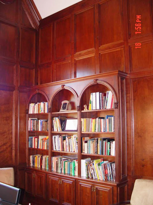 LibraryHere's Charles' walnut paneled library. He made the paneling himself with his Woodmasters and saved a bundle.