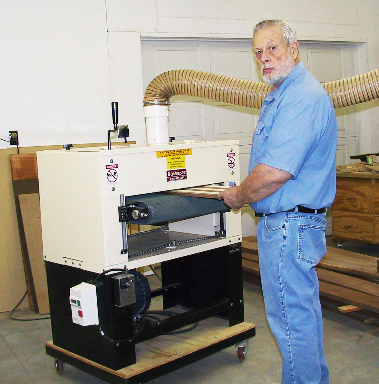"Here's retired engineer and dedicated woodworker, Dennis Westphal, with his Woodmaster Drum Sander. Thanks, Dennis, for sharing your secrets for creating your exceptional ""Wiggle Canes!"""