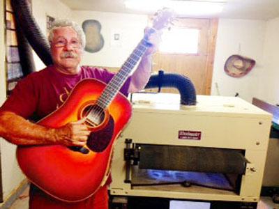 John Mannino makes extraordinary guitars with his Woodmaster Drum Sander