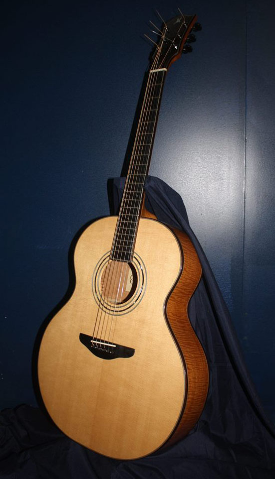 Flamed Hondouran mahogany guitar with Sitka spruce top.