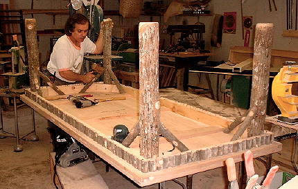 Richard Vega makes rustic Adirondack furniture with his Woodmaster Drum Sander