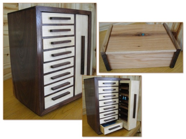"""""""My large jewelry box with all the drawers is walnut and maple. It is 14"""" x 10"""" x 20"""" high. The smaller one is 14"""" x 10"""" x 6"""" and is made of walnut and oak with crushed turquoise inlay."""""""