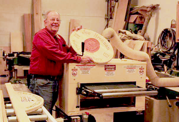 Dennis Hogan makes military service plaques with his Woodmaster Drum Sander