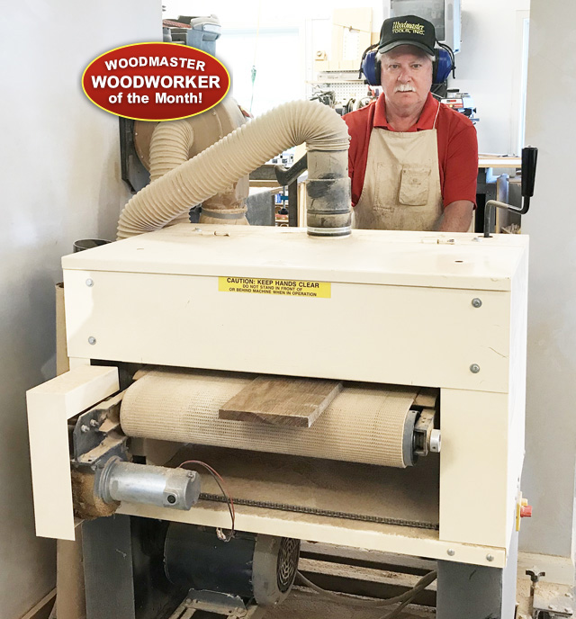 Steve Elett, Woodmaster Woodworker of the Month, and  his Woodmaster Drum Sander